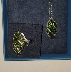 Jewelry - Chrome Diopside Ring/Pendant Set